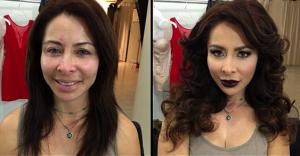 Γυναίκες πορνοστάρ πριν και μετά το μακιγιάζ