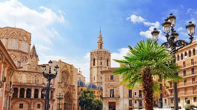 Square of Saint Mary's and Valencia  Cathedral Temple in old town.Spain.